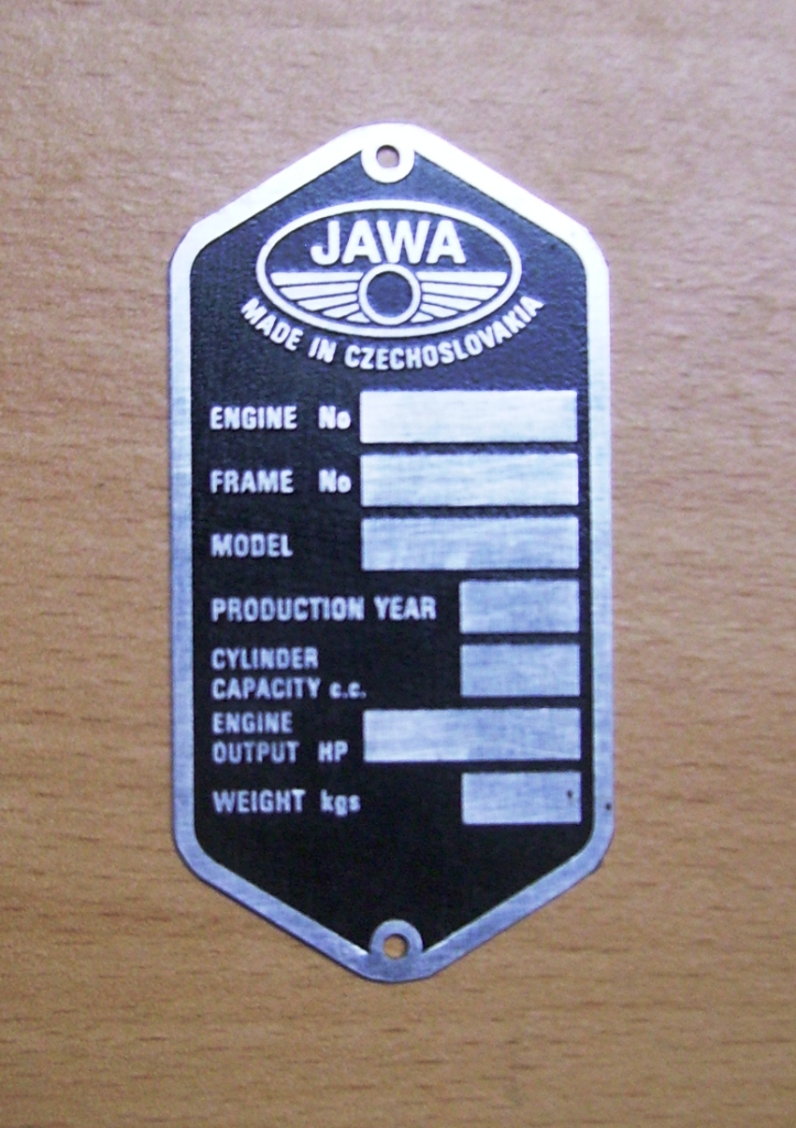 Type plate Jawa Panelka - ENGLISH